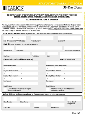 tarion one year form pdf